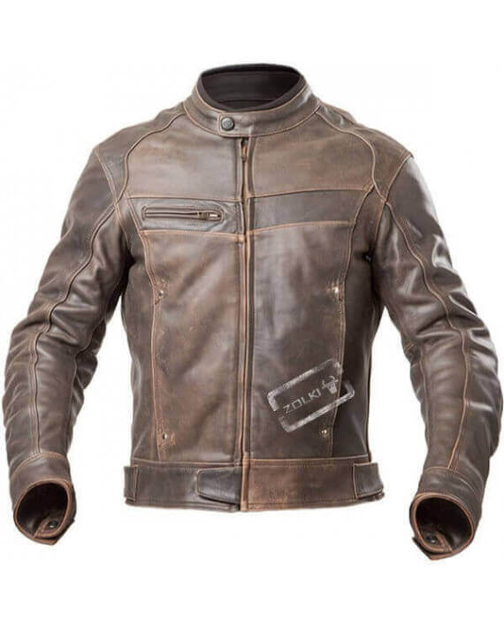 clearance prices on feet at official Vente - Blouson Moto Homme, Cuir Vintage, Marron Vieilli, Pas Cher